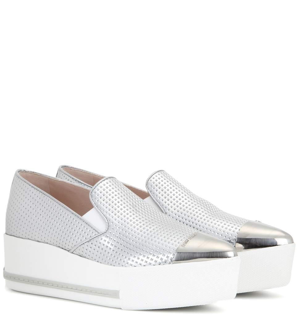 Cap Toe Madras Metallic Leather Platform Skate Sneakers, Chrome