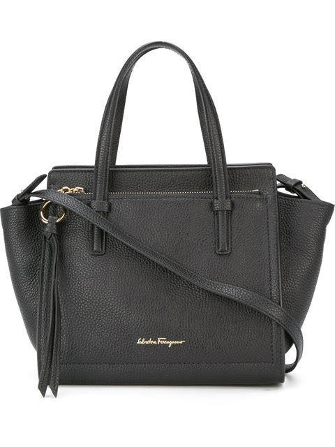 Small Amy Pebbled Leather Tote - Black