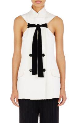 Double-Breasted Velvet-Trimmed Cotton And Silk-Blend Matelassé Vest in White