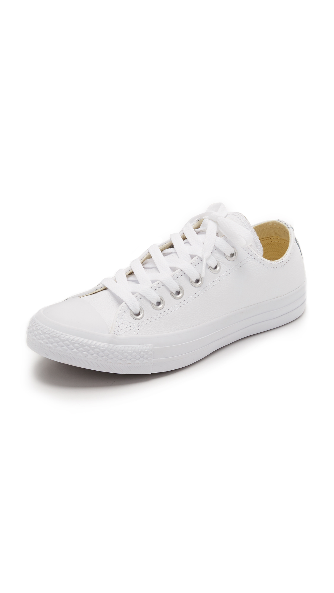 All Star Low-Top Leather Trainers in White Monochrome