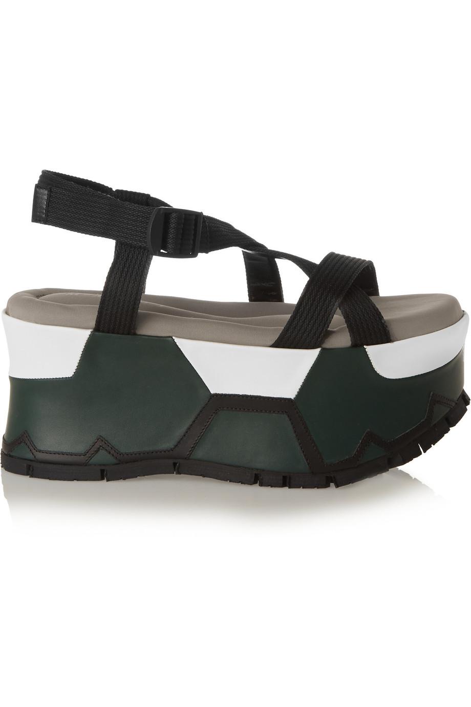 MARNI Canvas Platform Sandals in Black