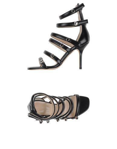CHRISTOPHER KANE Crystal-Embellished Multi-Strap Leather Sandals in Black