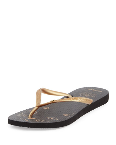 CHARLOTTE OLYMPIA Kitty Havaianas Rubber Flip Flop, Black