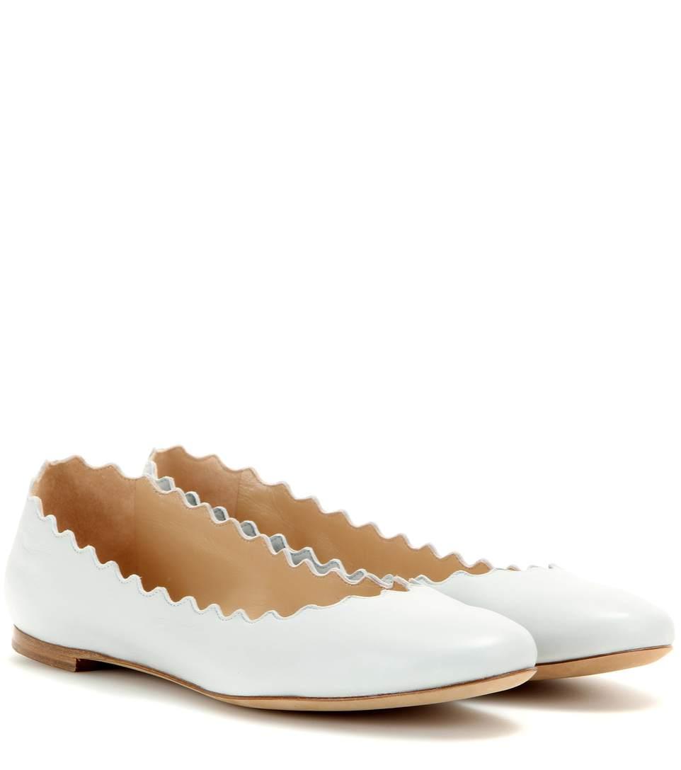 Chloe White Patent Lauren Ballerina Flats