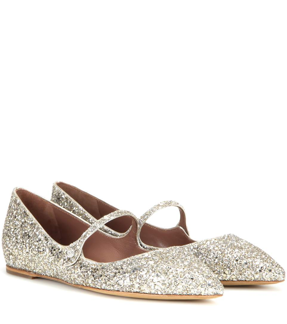 Cheap Price Factory Outlet Best Place To Buy Online Hermione glittered leather flats Tabitha Simmons Cheap Top Quality Cheap The Cheapest AF8lZ