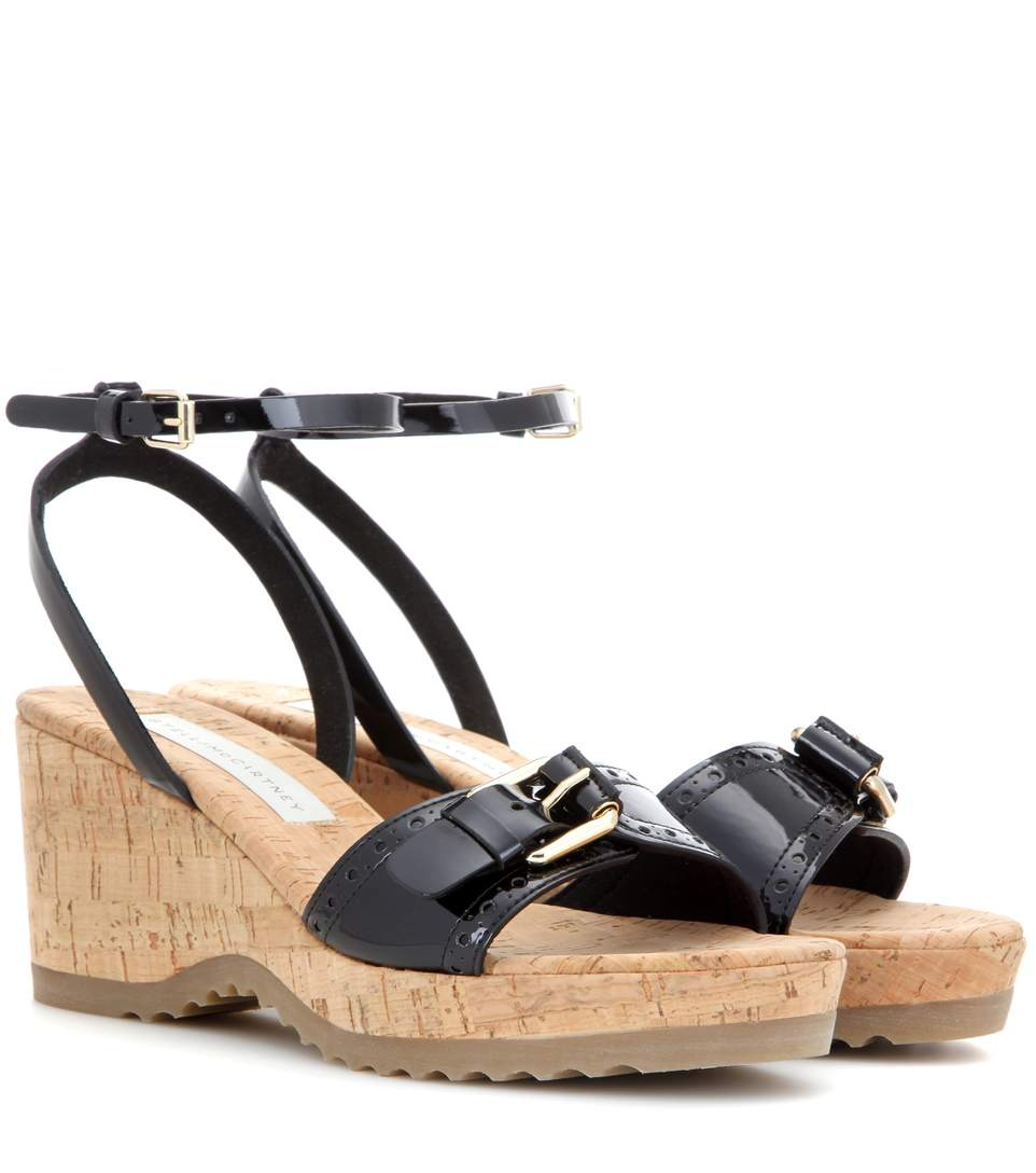 Stella McCartney Patent Leather Cork Wedges