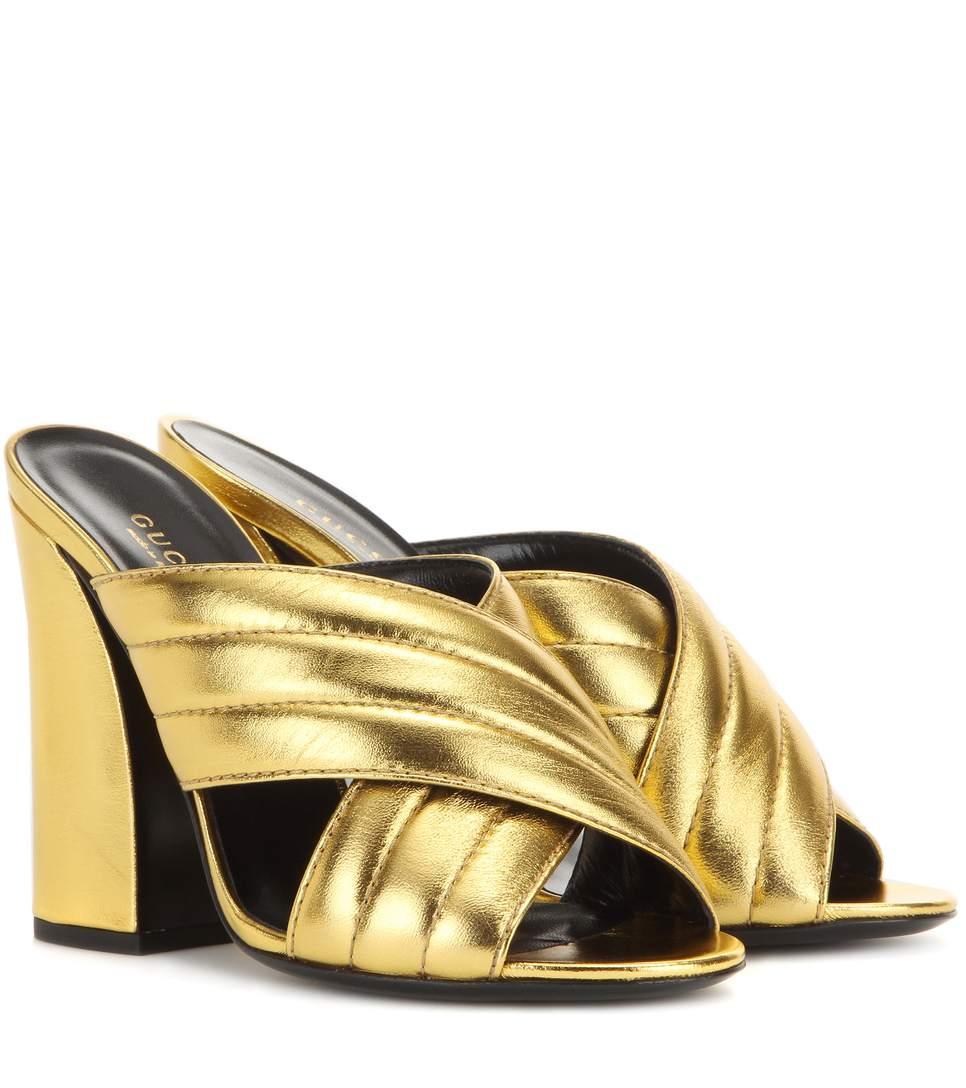 9bc0348c46b GUCCI 110Mm Sylvia Metallic Leather Sandals