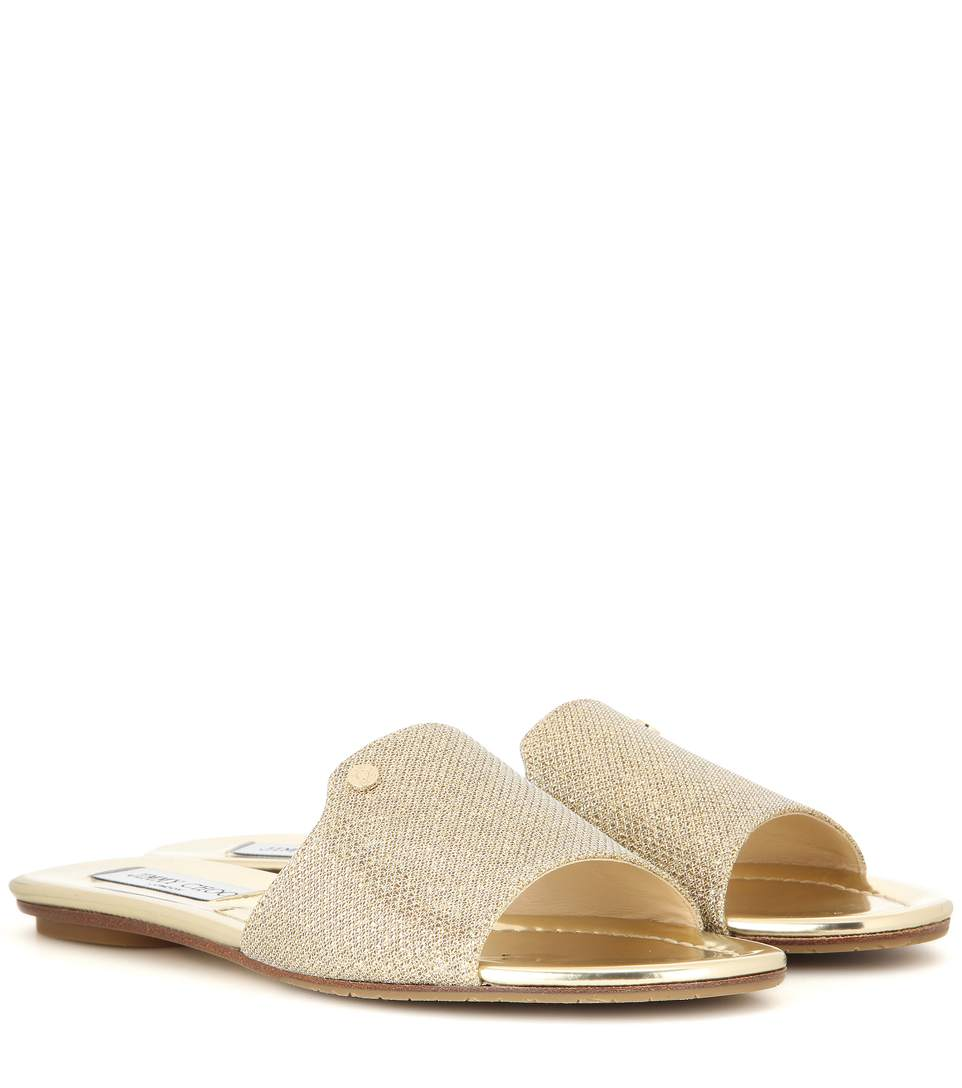 Jimmy Choo Metallic Leather Slide Sandals real online cheap outlet locations store with big discount online Shop shop for online E0IjBarfH