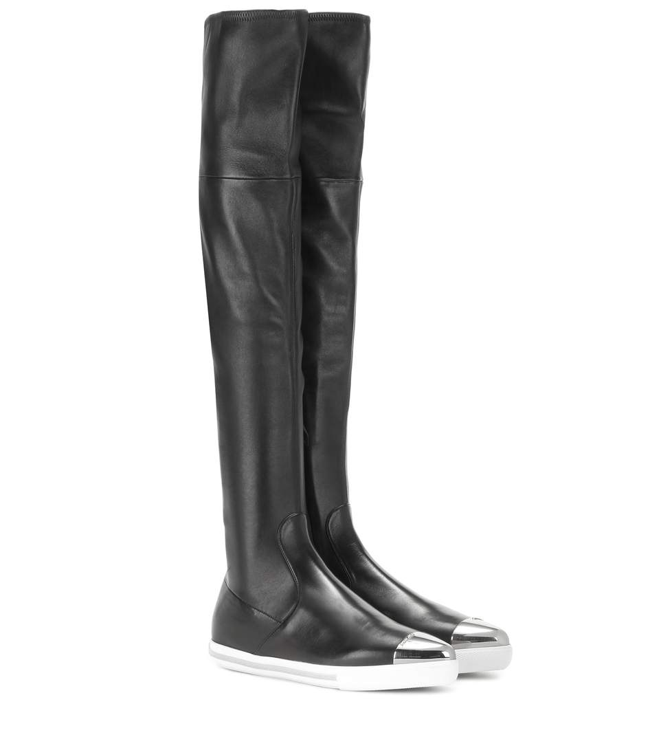 best cheap online Miu Miu Leather Over-The-Knee Boots cheap sale store Pi5sH3lM