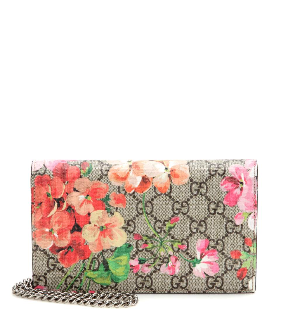 Gg Blooms Supreme Chain Wallet, Multi Rose, A
