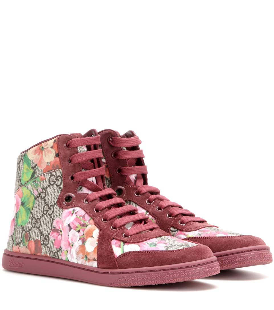 Coda Gg Blooms Printed Leather And Suede High-Top Sneakers, Our