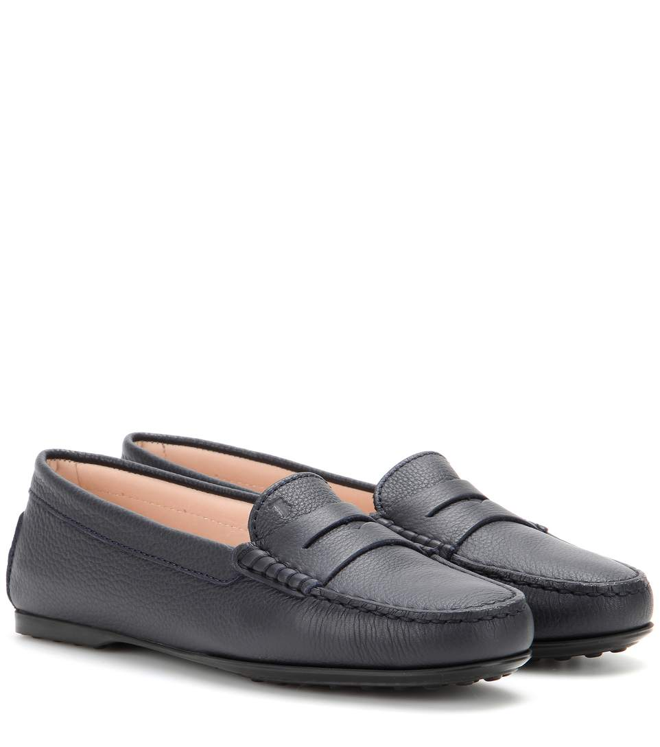 Gommini Smooth Leather Moccasin, Black, Blue