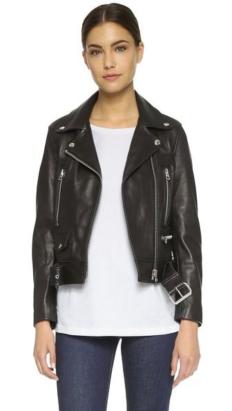 Merlyn Oversized Leather Biker Jacket in Black from Acne Studios