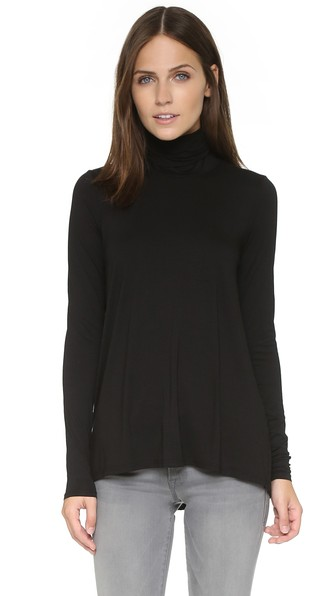 Relaxed Hi Lo Turtleneck in Black