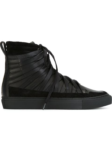 DAMIR DOMA Multi Strap Leather High Top Sneakers, Black
