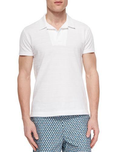 ORLEBAR BROWN Felix Johnny-Collar Waffle Polo Shirt, White