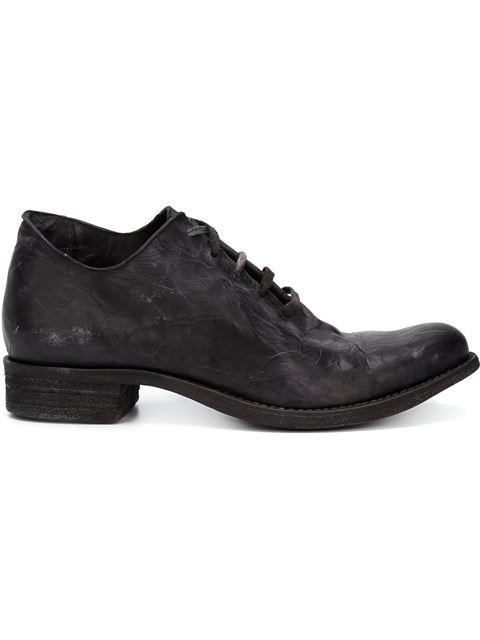 A DICIANNOVEVENTITRE Distressed Lace-Up Shoes in Black
