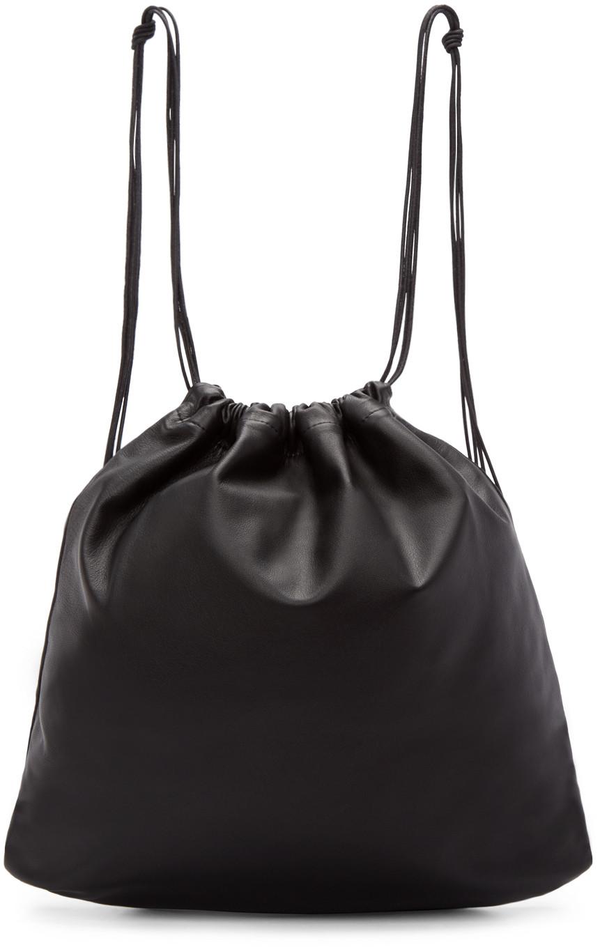 TSATSAS Tsatsas Black Leather Drawstring Xela Backpack in Black/Silver
