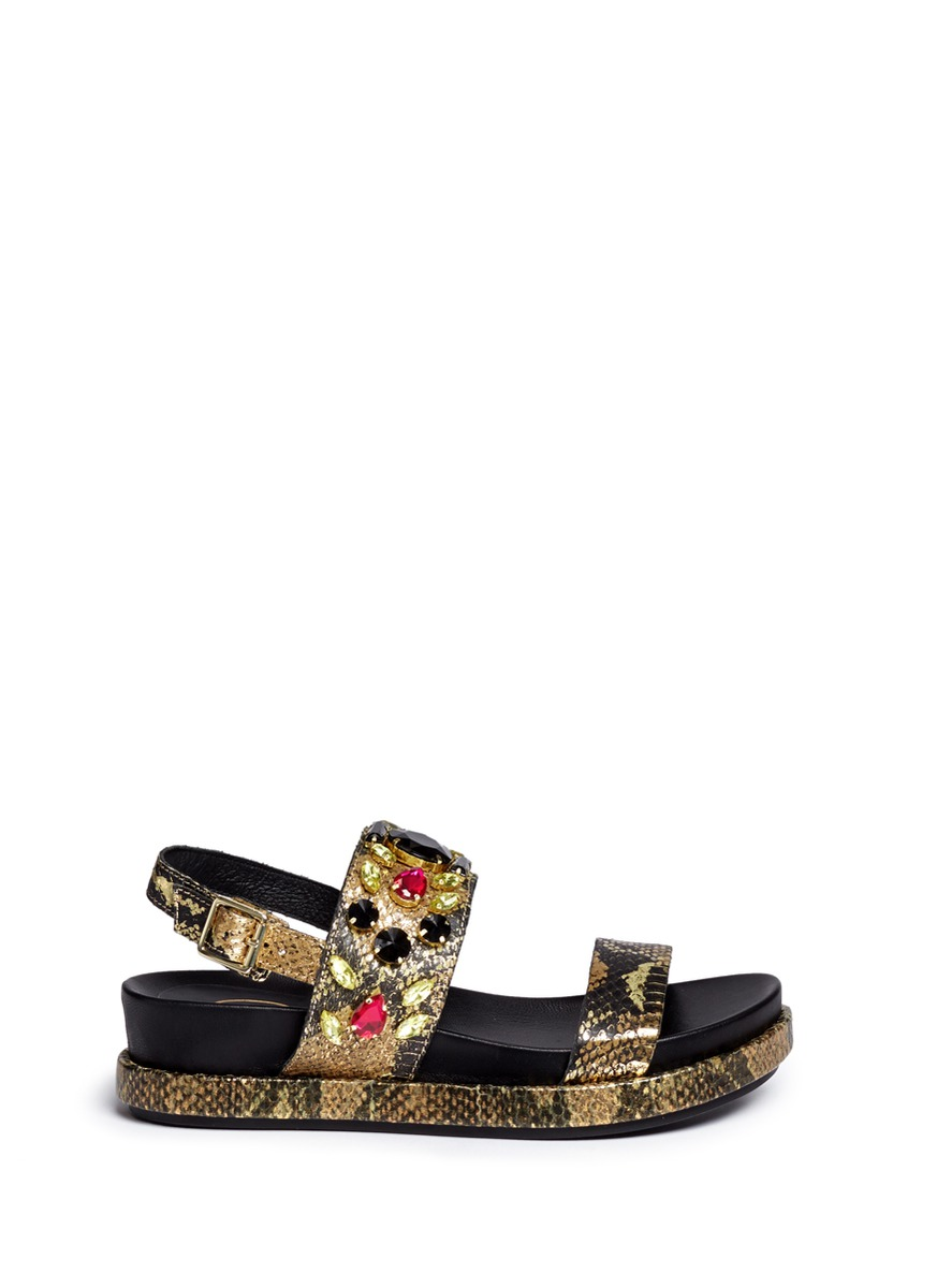 'Stone' Metallic Leather Sandals in Gold