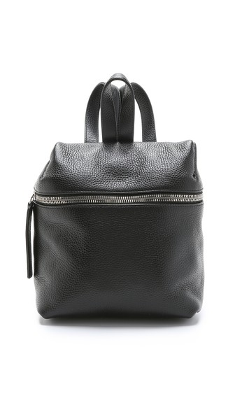 Small Pebbled Leather Backpack - Black