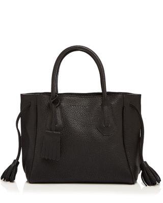 'Penelope' Tassel Drawstring Leather Tote - Black