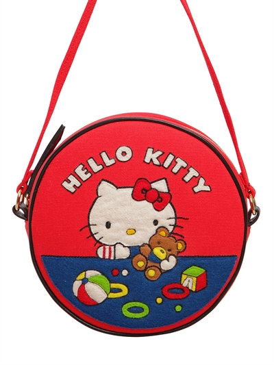 Teddy Bear Dizzie Appliquéd Cotton-Canvas Shoulder Bag, Red