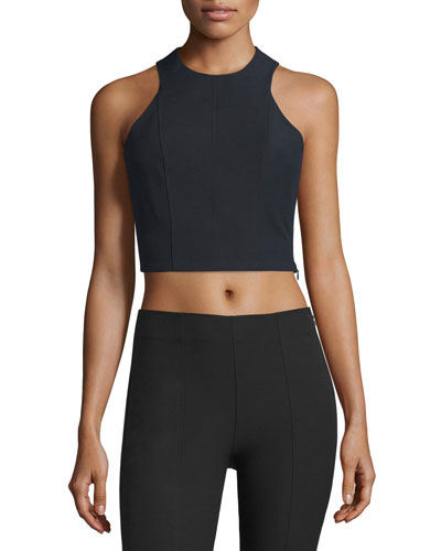 T BY ALEXANDER WANG Stretch Suiting Sleeveless Crop Top, Black