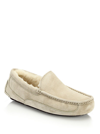 Men'S Ascot Suede And Shearling Moccasins, Sand