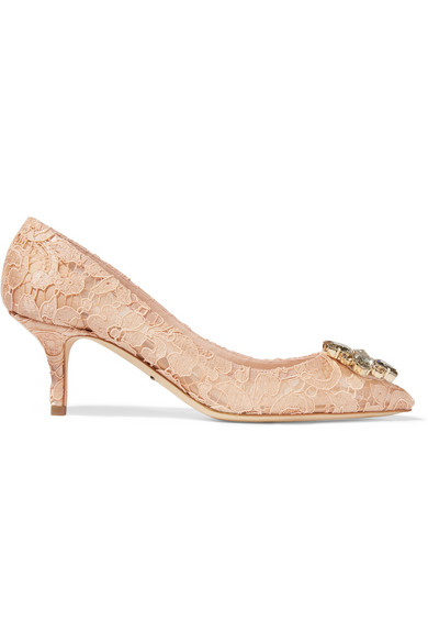 Crystal-Embellished Corded Lace And Mesh Pumps, Beige