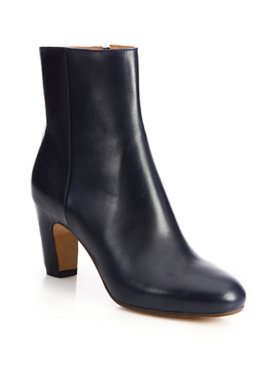 71bbe26c9 MAISON MARGIELA CUT-OUT BLOCK-HEEL LEATHER ANKLE BOOTS, NAVY