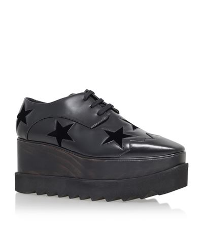 Elyse Stars Faux-Leather Flatform Brogues, Black