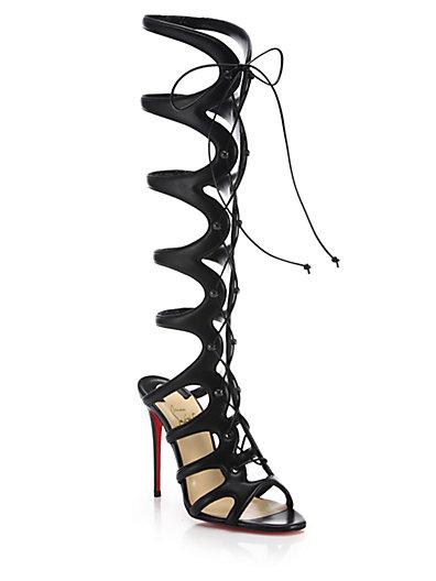 CHRISTIAN LOUBOUTIN Amazoula 100Mm Leather Tall Gladiator Red Sole Sandal, Black