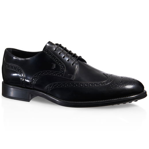 TOD'S Calf Leather Brogue Lace-Up Shoes, Black