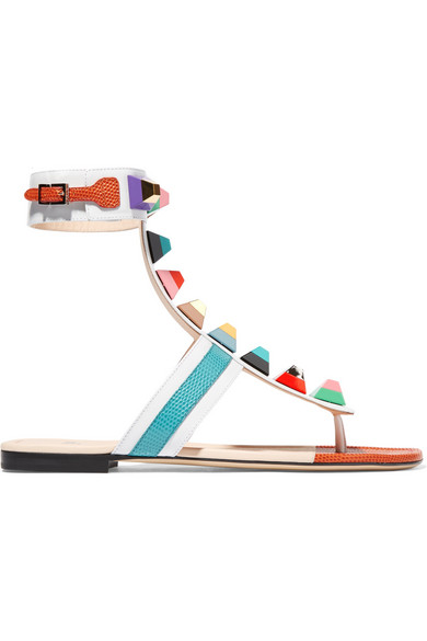 FENDI Rainbow Stud-Embellished Leather Sandals in White