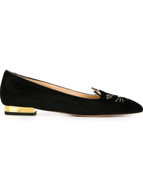 Woman Charlotte'S Web Embroidered Velvet Slippers Black from Bloomingdale's