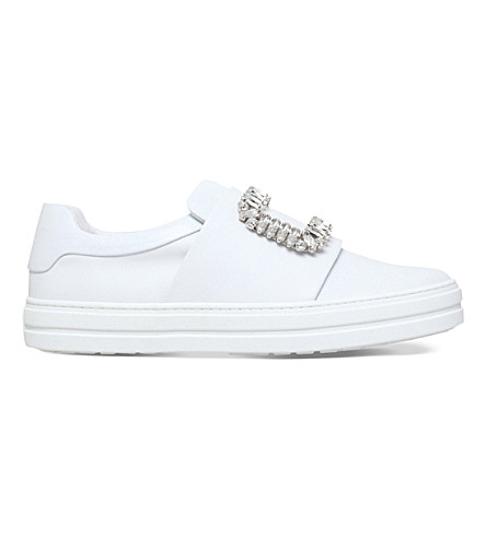 Sneaky Viv Crystal-Embellished Leather Slip-On Sneakers, White