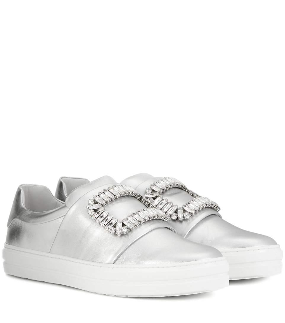 ROGER VIVIER Sneaky Viv Crystal-Embellished Metallic Leather Slip-On Sneakers, Silver