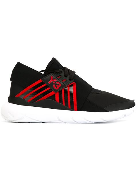 +Adidas Originals Qasa Elle Leather-Trimmed Neoprene Sneakers in Core Black/Scarlet/Core Black