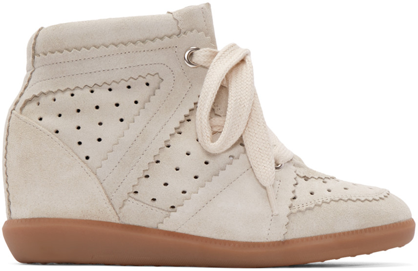 Women'S Shoes High Top Suede Trainers Sneakers Bobby in Beige