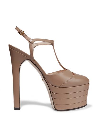 Porcelain Rose Stacked Platform Leather Heels in Neutrals