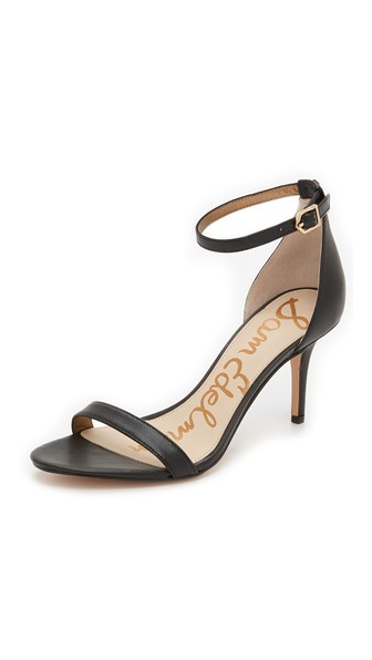 'Eleanor' Ankle Strap Sandal (Women), Black Patent Leather