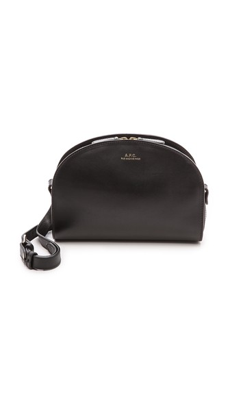 Demi-Lune Leather Shoulder Bag in Black
