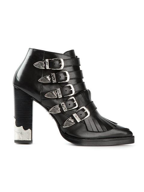 TOGA Black Velvet Panel Western Buckle Polido Boots