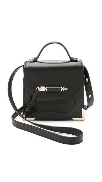 Mini Rubie Leather Shoulder Bag - Black