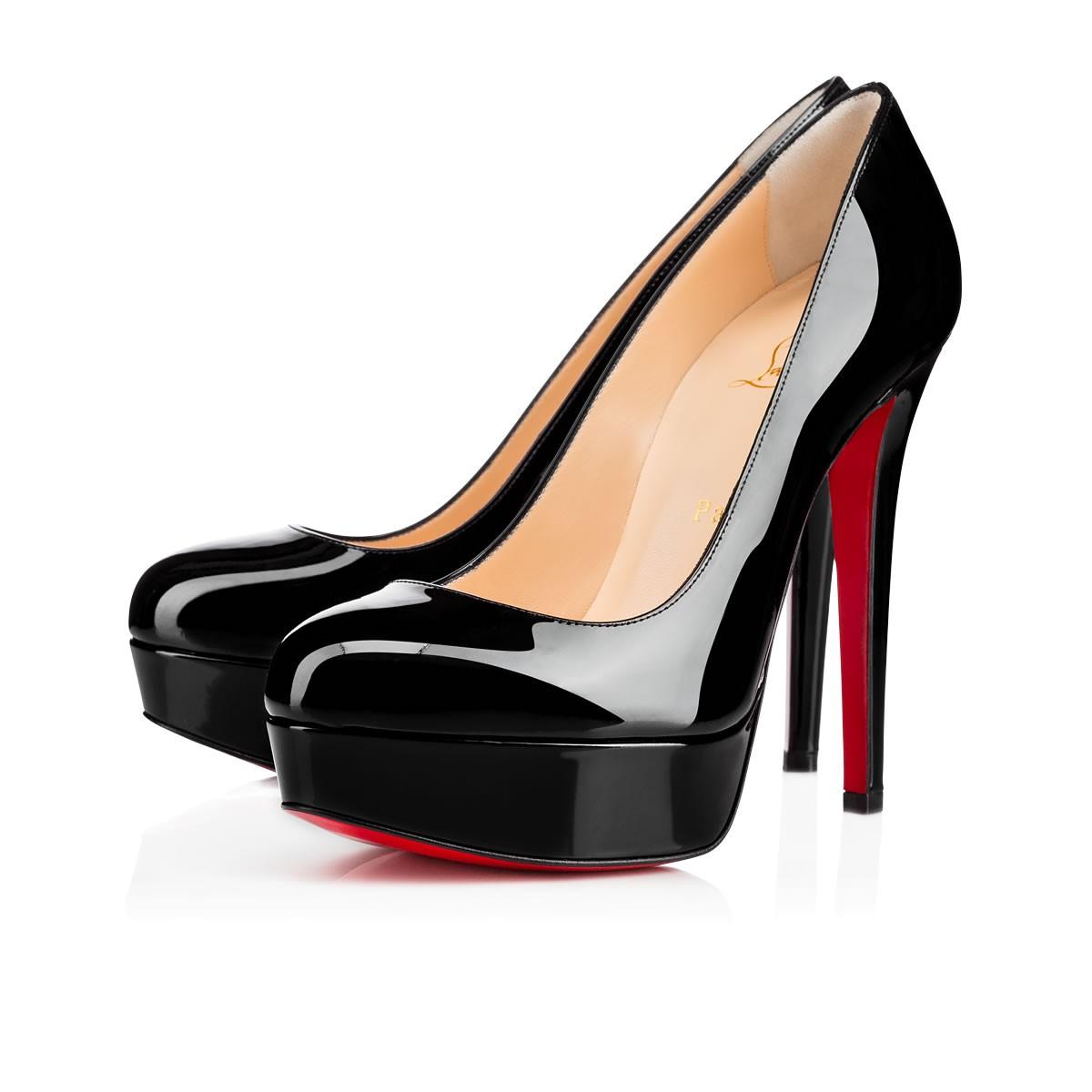 "11  Black Patent Leather ""Dirditta"" Platform Pumps"