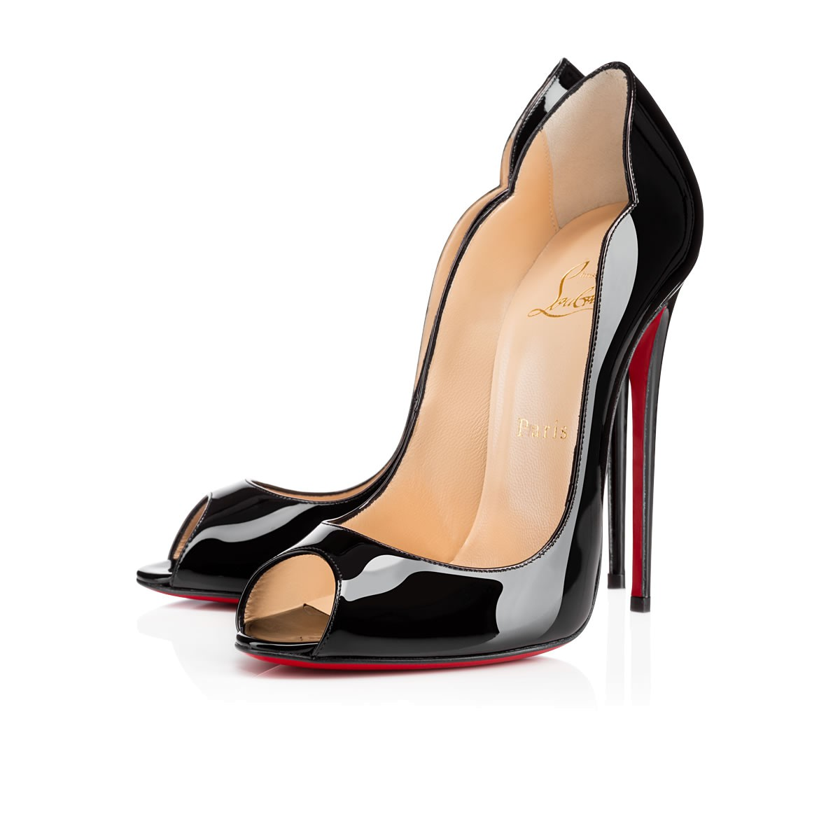 4d160b0412d7 ... CHRISTIAN LOUBOUTIN Hot Wave 130 Black Patent Leather - Women Shoes -