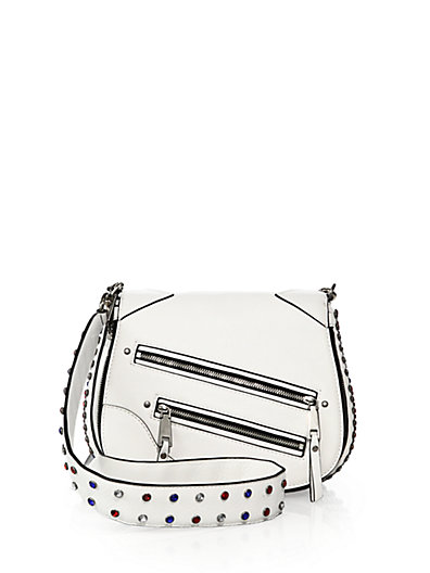 'Small P.Y.T.' Leather Saddle Crossbody Bag, Star White