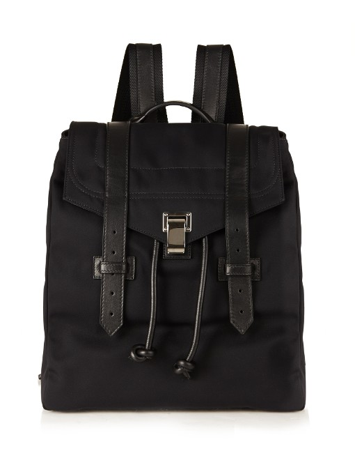Ps1 Nylon Backpack W/Leather Trim, Black