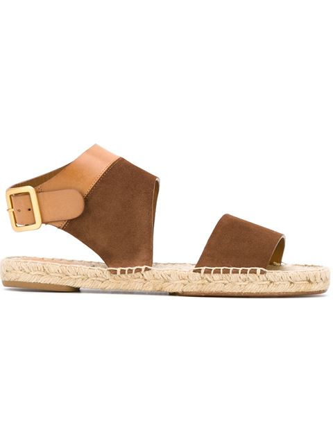 Chloé Suede And Leather Flat Sandals Clearance Fashionable xUEBg