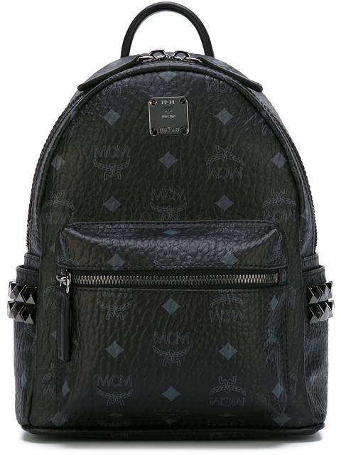 Mini Stark Side Stud Coated Canvas Backpack - Black in Bk